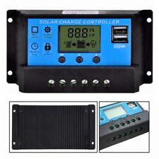 12V 24V PWM 10/20/30A Dual USB Solar Panel Battery Regulator Charge Controller