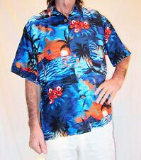 LOUD HAWAIIAN SHIRT BLUE/ORANGE SUNSETS & Hibiscus flowers STAG NIGHT HOLIDAY