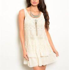 May & July Bohemian Boho Crochet Fringe Ruffle Layered Hem Chiffon Dress