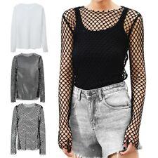 Fashion Women Net Mesh Sheer Long Sleeve Shirt Blouse See Through Casual Tops