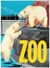 Vintage Copenhagen Zoo Polar Bears Poster A3/A4 Print