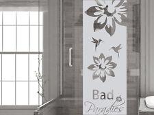Glasdekor Folie Fensterdekor für Badezimmer Spruch Bad Paradies Blumen