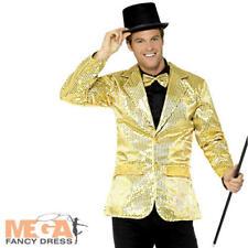 Chaqueta de lentejuelas de oro para hombre Cabaret Carnaval Adulto Disfraz De Circo Abrigo Vestido de fantasía