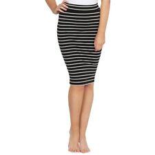 Alicia Midi Skirt -Black/White Stripe- Betty Basics - Knee Length Women's Skirt