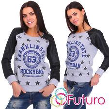 Womens Cotton Pullover Sweatshirt Fleece Jumper Top Blouse Top Size 8-14 FZ16