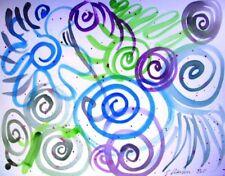 C Peterson ORIGINAL watercolor PAINTING happy swirl ART