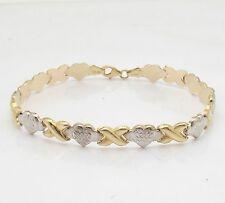 Diamond Cut Hearts & Kisses Bracelet Genuine REAL 10K Yellow White TwoTone Gold