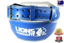 "LIONS FIT 6"" WIDE BLUE COLOUR SPLIT LEATHER WEIGHT LIFTING BODYBUILDING GYM BELT"