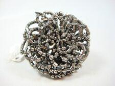 Fashion Large Flower shape shiny Silver beads design ring one size adjustable