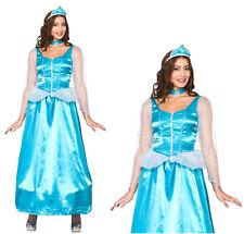 NEW Ladies ICE BLUE PRINCESS Elsa Anna Cinderella Fancy Dress Costume UK 6-24