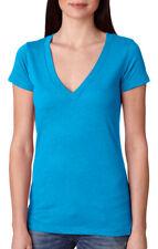 Next Level Women's New Baby Rib Collar Short Sleeve V Neck Basic Tee. NL6740