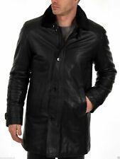 Men Black Leather Trench coat with Fur Collar Lambskin Custom Made S M L XL XXL