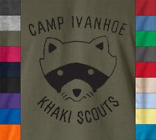 Moonrise Kingdom CAMP IVANHOE 100% Ringspun T-Shirt Khaki Scout Movie Animal Tee