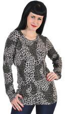 Round Neck vintage Leopard leo Jersey/camisa-beige rockabilly