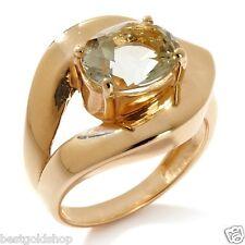 Technibond Genuine Oval Prasiolite Gemstone Ring 14K Yellow Gold Clad 925 Silver