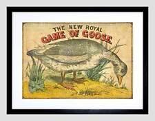 ADVERT BOX COVER BOARD GAME GOOSE ROYAL BIRD PLAY FRAMED ART PRINT B12X5515