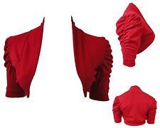 NEW LADIES PLUS SIZE RED RUCHED 3/4 SLEEVES SHRUG BOLERO CARDIGAN 12-26
