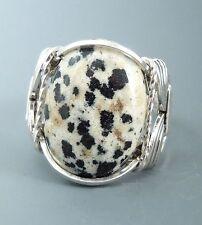 Sterling Silver Wire Wrapped Dalmatian Jasper Cabochon Ring