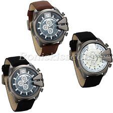 Men's Fashion Suede Leather Straps Decoration Big Dial Quartz Wristwatch Watches