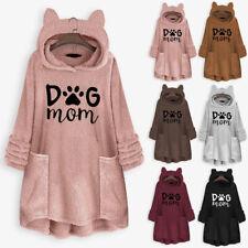 Women Fleece Cat Ear Print Sweater Plus Size Hooded Pocket Top Blouse Pullover