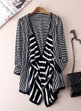 Navy white stripe draped hip length cardigan size 10-16