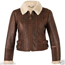 Ladies Ella Short Leather Sheepskin Jacket - Brick