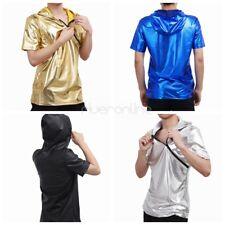 Men's Leather Short Sleeve Hipster Hip Hop Hoodie Zipper Top T shirt Clubwear