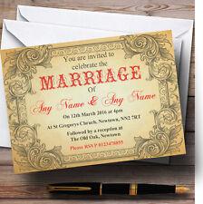 Typography Vintage Red Postcard Personalised Wedding Invitations