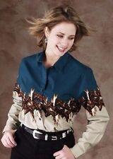 Womens Western Line Dance Shirt - Panhandle Running Free Horses Riding