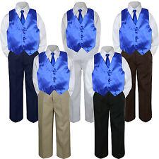 4pc Boy Suit Set Royal Blue Necktie Vest Baby Toddler Kid Formal Pants S-7