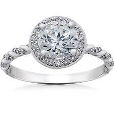 GSI 1 1/3 ct Lab Grown Diamond Halo Engagement Ring 14k White, Yellow, Rose Gold
