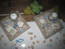 Dekoschale Holzschale mit Kerzen Sand Tablett Holz weiß Sommerdeko Tischdeko Neu