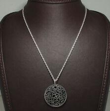 "Oxidized Filigree Pendant Chain Sterling Silver 18"""