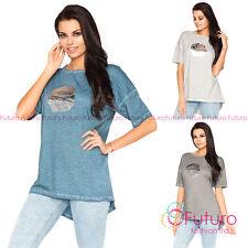 Womens Oversized Asymmetric T-Shirt Short Sleeve Top Blouse Size 8 - 14 FT2066