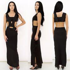 Chinyere Khloe Silk Maxi Dress Elaborate Embroidery Open Sides Midriff sz 2 & 12