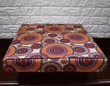 AF258t Blue Orange Flower Cotton Canvas 3DBox Sofa Seat Cushion Cover CustomSize