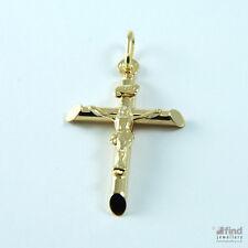 New Ladies / Mens Large 9ct Yellow Gold Crucifix Cross Pendant RRP£90