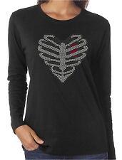Heart Rib Cage Rhinestone Women's Long Sleeve Shirts Lady Biker Goth