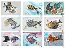 9 diferentes peces ACEO le pescado impresiones artísticas de la pintura original de Xenia hahonina