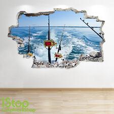 La pêche maritime autocollant mural 3D look-garçons chambre sport extrême applique murale Z247