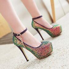 Platform Mary Jane Women Sexy Super High Heel Glitter Blubwear Party Pumps Shoes