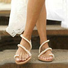 Ladies Flats Faux Pearl Slides Sandals Beach Causal Pump Women Comfort Shoes AU