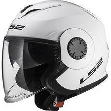LS2 OF570 Verso Solid White Open Face Motorbike Helmet Scooter Jet Lid Sun Visor