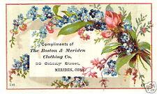 Victorian Trade Card CLOTHING CO. Boston & Meriden CT