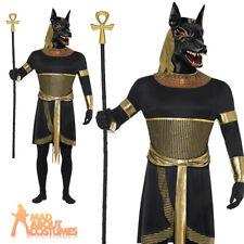 Adult Anubis Costume Egyptian God Jackal Mens Halloween Fancy Dress Oufit New