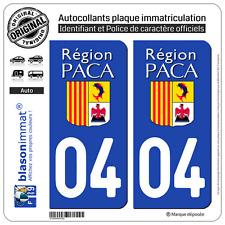2 Stickers autocollant plaque immatriculation : 04 PACA LogoType