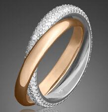 925 ECHT SILBER *** 2er Zweier-Ring Doppelring Rotgold plattiert Größenauswahl