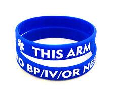 NO/BP/IV Needles This Arm - Adult Silicone Bracelet (Royal)