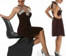 Miss Sexy donna elegante sera abito da sera brillanti pietre DRESS S/M 34/36 M/L 36/38 Marrone
