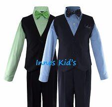 Boys Solid Navy/Black Vest Suit Set with Checker/Stripe Dress Shirt Tie Wedding